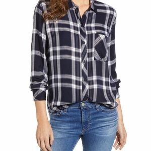 Rails Liza Navy Midnight Powder Plaid Shirt